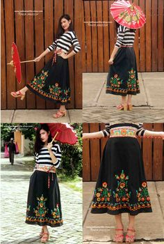 Batik Amarillis's Kiku Skirt in hungarian embroidery ..super unique & Fabulous Kimono's inpired skirt with attached obi belt also features Batik Indonesia piping also as the obi cord To bring individual unique Style!