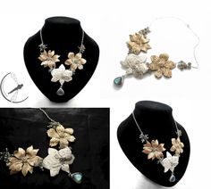 FLOWERS - SILVER NECKLACE WITH BRONZE, MOONSTONE, LABRADORITE