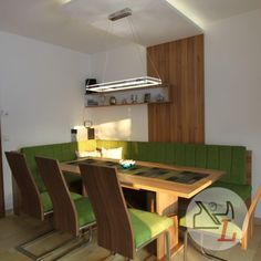 Conference Room, Furniture, Home Decor, Corner Dining Nook, Green Fabric, Carpentry, Cantilever Chair, Hanging Wallpaper, Dining Rooms
