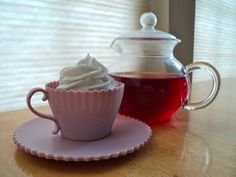 Vegan Tea Cup Cakes & Coconut Frosting with Hot Blueberry Hibiscus Tea :)