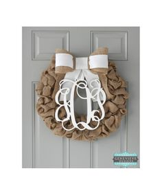 Burlap Wreath  Monogram & Ivory Bow  by GenevieveDesignsBR