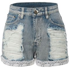 LE3NO Womens High Waisted Distressed Denim Jean Shorts (18.925 CLP) ❤ liked on Polyvore featuring shorts, lace trim denim shorts, stretch shorts, high-waisted denim shorts, high-rise shorts and high rise denim shorts