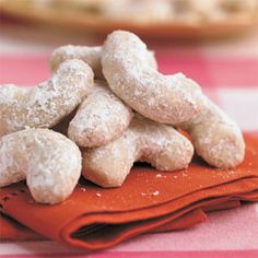 Best Cookies Recipes: Pecan Crescents Recipes - 23 Sweet and Festive Pecan Desserts - Southern Living Pecan Desserts, Pecan Recipes, Best Cookie Recipes, Just Desserts, Holiday Recipes, Delicious Desserts, Dessert Recipes, Yummy Food, Bar Recipes