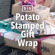 DIY Potato Stamped Gift Wrap