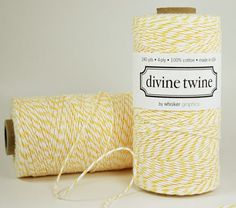 Yellow and white, Grey and white baker's twine instead of ribbon.
