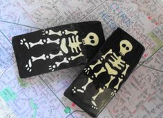 Handmade skeleton Halloween barrettes 2 by nicohynes on Etsy