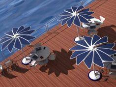 Guarda-sol com painéis solares