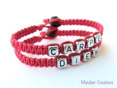 Carpe Diem Set of Two Red Hemp Bracelets Seize by MandarrCreations