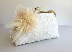 Bridal Clutch Feather Clutch Wedding bridesmaid by SheetaDesign