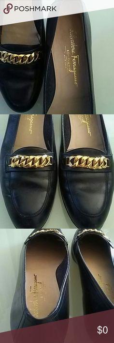 Navy {Ferragamo} w/ chain detail {Salvatore Ferragamo} Salvatore Ferragamo Shoes Flats & Loafers