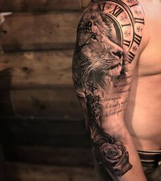 For example, how the lion turns into the kneeling man - tattoos - . - For example, how the lion turns into the kneeling man – tattoos – - Clock Tattoo Sleeve, Full Sleeve Tattoos, Tattoo Sleeve Designs, Chest Tattoo, Tattoo Designs Men, Hand Tattoos, Tattoos Arm Mann, Cool Tattoos, Jesus Tattoo