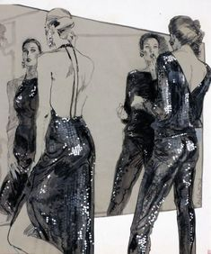 Two models in sequined evening attire, looking in a mirror Fashion Illustration American early Jackie Doyle, For Bullocks Department Store (American, Illustration Techniques, Fashion Illustration Sketches, Illustration Mode, Fashion Sketches, Fashion Design Sketchbook, Fashion Design Drawings, Fashion Drawings, Fashion Model Poses, Fashion Models
