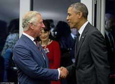 'Everyone should visit Wales': Obama is 'having a great time' in the country as he greets Prince Charles at Nato summit reception http://www.dailymail.co.uk/news/article-2743983/All-aboard-Prince-Charles-looks-dapper-Navy-uniform-inspects-British-French-warships-Cardiff-Nato-summit.html