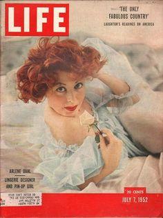 Arlene Dahl, shows lingerie she designs 1952 Life Magazine Cover art, (cover only) ads-thru-time *Authentic Original art Look Magazine, Time Magazine, Magazine Ads, Magazine Design, Magazine Covers, Vintage Comics, Vintage Ads, Arlene Dahl, Life Cover