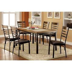 Furniture of America Hailey Dining Table Set with Stone in Bronze Finish