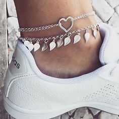 Cool Anklets Fashion Accessories to buy this season Ankle Jewelry, Ankle Bracelets, Cute Jewelry, Leather Jewelry, Sterling Silver Anklet, Silver Anklets, Silver Ring, Silver Earrings, Earrings Uk