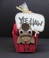 Have decided to play with my Fry Box die from Stampin'Up!. My french fry box base is Real Red, and stamped with the Hardwood background stamp. The horse punch art uses the Extra Large Oval, large and small Oval punches, and the Owl Builder Punch for the horse. The lariat and the Yee-Haw are from the Yee-Haw photopolymer stamp set. I used red licourice for the snack but haystack cookies or trail mix would work great, too! My horse is punched from Baked Brown Sugar with black hooves and Early ...