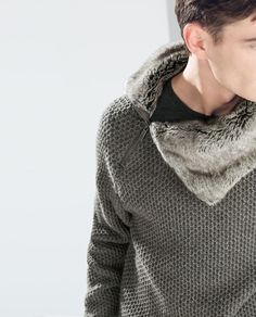 ZARA - HOMME - VESTE COL FOURRURE SYNTHÉTIQUE...even though faux, a great look