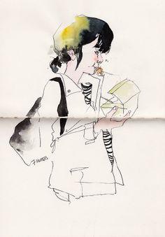 daily metro sketches / female 1 by Sunga Park, via Behance