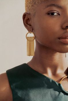 Laura Lombardi Jewelry - Circular earring with brass fringe detail