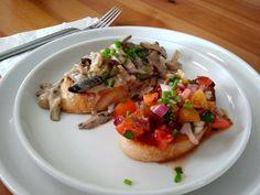 Brushetta 2 ways, sauté mushrooms with a marsala cream sauce and fresh tomato basil salsa.