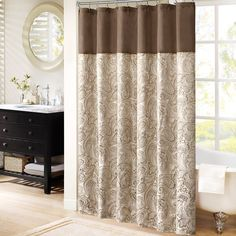 Shop for Madison Park Whitman Jacquard Shower Curtain. Get free delivery On EVERYTHING* Overstock - Your Online Shower Curtains & Accessories Store! Paisley Shower Curtain, Decor, Transitional Showers, Living Design, Fabric Shower Curtains, Shower Curtain Hooks, Curtains, Shower Curtain, Sophisticated Bathroom