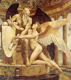 "Venus and Neptune in ""The Roll of Fate"" by Walter Crane, Oil on canvas (Amazing to note the influence of Christianity in a Pagan themed painting; most obvious are the angel wings on the Pagan God and Goddess."