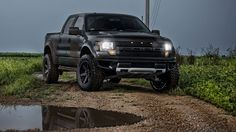 Drool..Flat Black Ford Raptor. Wouldn't mind using this to trailer the horses