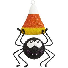 Pier 1 Imports Glitter Spider with Candy Corn Ornament (12 CNY) found on Polyvore