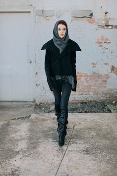 Rick Owens jacket from many years back, huge grey wool scarf, jeans c/o Anine Bing, Balenciaga Astro boots