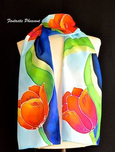 Silk scarf hand painted vibrant tulips with bright green