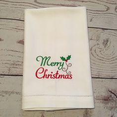 Christmas Towel,Linens,Hemstitched,Merry Christmas Monogrammed,Kitchen Towel,White Linen,Christmas gift,Christmas Decor,Housewarming gift by DarlenesNeedlesnPins on Etsy