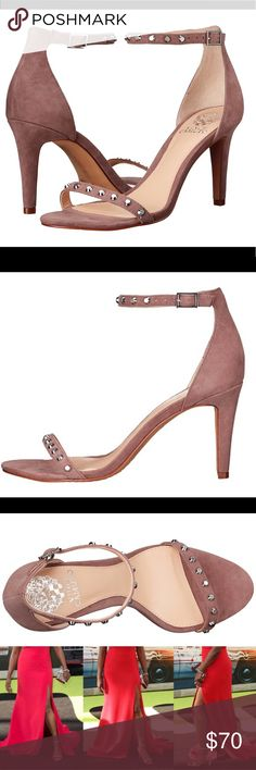"""❗️LAST CHANCE❗️Vince Camuto strappy studded heel ⚜️Vince Camuto⚜️   • Studded sandal heels  • Mauve vegan suede  • Super soft and comfortable  • Sexy but classy height  • Can be worn out or to work!  • Brand new in box  ⚜️Size 8.5⚜️  • 3.5"""" heel  • $129 heels!   • • ⚜️ • • No Holds/Trades • • ⚜️ • • Vince Camuto Shoes Heels"""