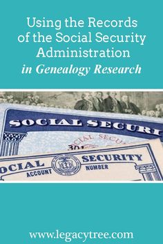 Guide to accessing and using Social Security Administration records in your #genealogy and #familyhistory research. https://www.legacytree.com/blog/using-social-security-administration-records-genealogy?utm_source=pinterest&utm_medium=blog&utm_campaign=SSA-records