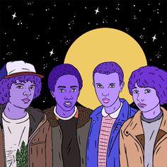 Stranger Things art gif by Robin Eisenberg. Dustin Henderson, Lucas Sinclair, Eleven, Mike Wheeler.