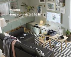 Profită de reducerile de până la 20% la toate canapelele și pregătește-te pentru următoarea vizită a celor dragi. Cu ajutorul colțarului FRIHETEN poți transforma repede camera de zi în dormitor.  Oferta este valabilă până pe 17 iunie, în limita stocului disponibil. Future House, Corner Desk, Ikea, Modern, Furniture, Home Decor, Corner Table, Trendy Tree, Decoration Home
