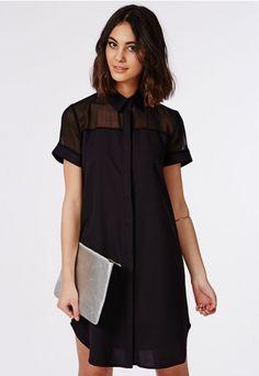 Chiffon Panel Crepe Dip Hem Shirt Dress Black - Dresses - Shirt Dresses - Missguided