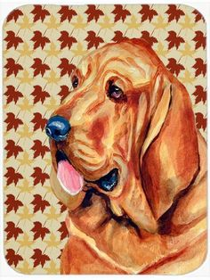 Bloodhound Fall Leaves Portrait Glass Cutting Board Large