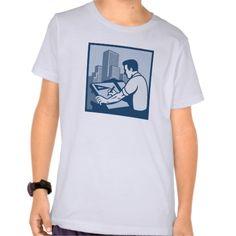 Architect Draftsman Drawing Buildings Retro T Shirt, Hoodie Sweatshirt