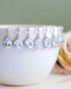 Crystal Bridal Earrings, Set of 5 Bridesmaid Earrings, LARGE Teardrop White Crystal Cubic Zirconia Earrings. Special Price. by LeChaim on Etsy