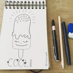 Keep it cool! En hopelijk wordt het vandaag erg zonnig en is het weer ijscotijd! Psssst ik zet mijn creaties / doodles op mijn free printables bord op pinterest. Link in bio. #doodles #cool #icecream #kawaii #kawaiifaces #cecielmaakt