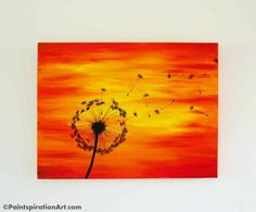 Dandelion Painting on 24x18 Large Canvas Painting - Sunset Paintings Silhouette Art - Red, Yellow, Orange Home Decor - Nature Decor Artwork