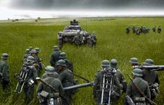 Wehrmacht troops stormed through the vast, open fields of the East at the launch of Operation Barbarossa; the invasion of the Soviet Union. Summer, 1941.
