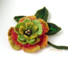FLOWER handfelted wool brooch Ready to Ship Now  Gift by MSbluesky, $26.00