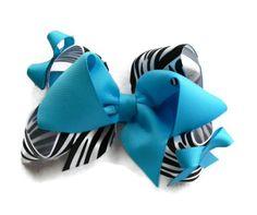 Girls hair bows Zebra hair bow Boutique hair by PoshPrincessBows1, $10.99