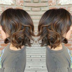 Rich Hazelnut Balayage Brunette virgin hair short textured Bob by Stacy Pope