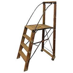 Large Antique American Dry Goods Store Ladder | From a unique collection of antique and modern ladders at https://www.1stdibs.com/furniture/more-furniture-collectibles/ladders/
