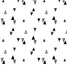 Black and White Watercolor Triangles Fabric  by Spoonflower
