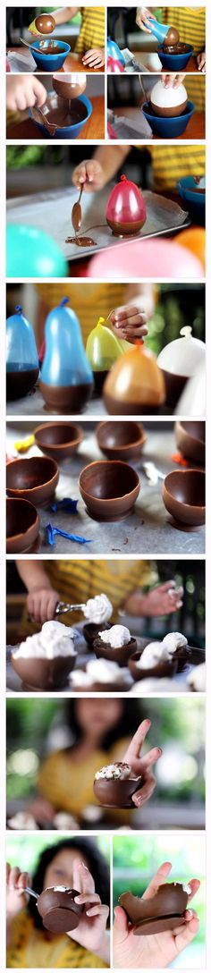 diy chocolate dessert cups - so fun! tkz: Did this one time at a friend's food party. Messy is what I remember. Yummy though - dark chocolate. Köstliche Desserts, Delicious Desserts, Dessert Recipes, Yummy Food, Delicious Chocolate, French Desserts, Plated Desserts, Drink Recipes, Snacks