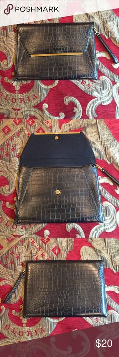 """Laptop Case Black leather laptop case. Fits 13"""" laptop! Great for macbook. Its a very classy case. It can also be used at a clutch! ASOS Bags Clutches & Wristlets"""